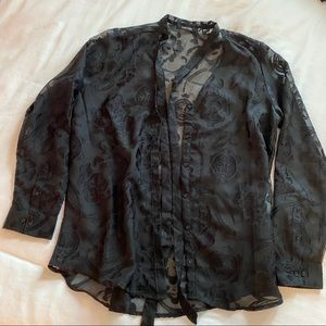 Obey velvet sheer button down with neck detail